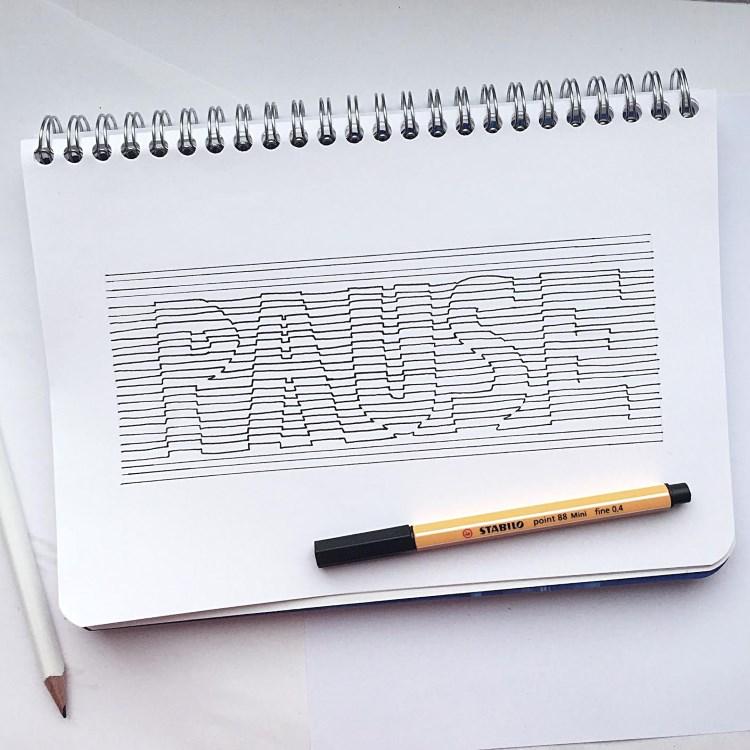 Pause - 3D Lines Lettering nur aus Linien