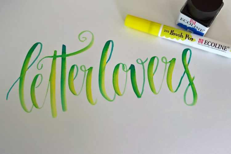 letter lovers - Brushlettering mit einem Farbmischeffekt und Verlauf
