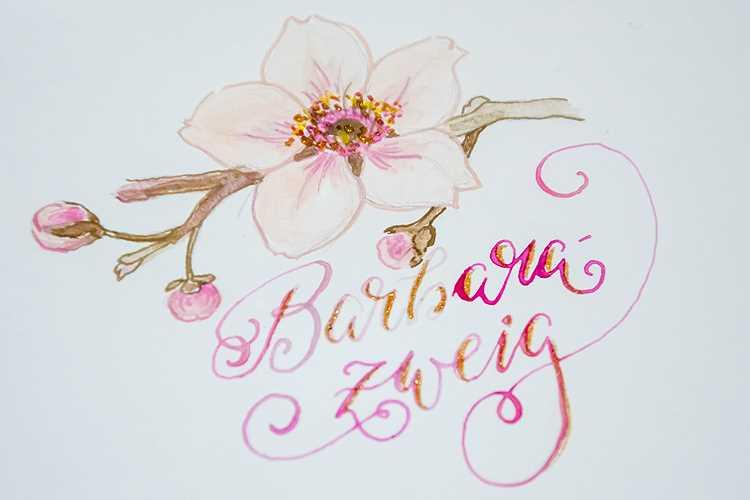 gemalte Blume mit Lettering und Glitzer - Barbara Zweig