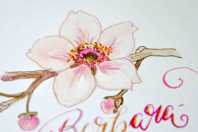 Barbara Zweig gemalte Blume