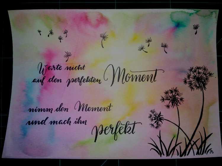 Handlettering auf einem bunten Watercolor Hintergrund