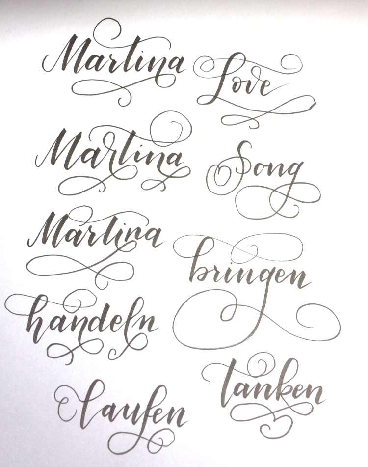 Handlettering Wörter mit Schnörkeln Flourishing