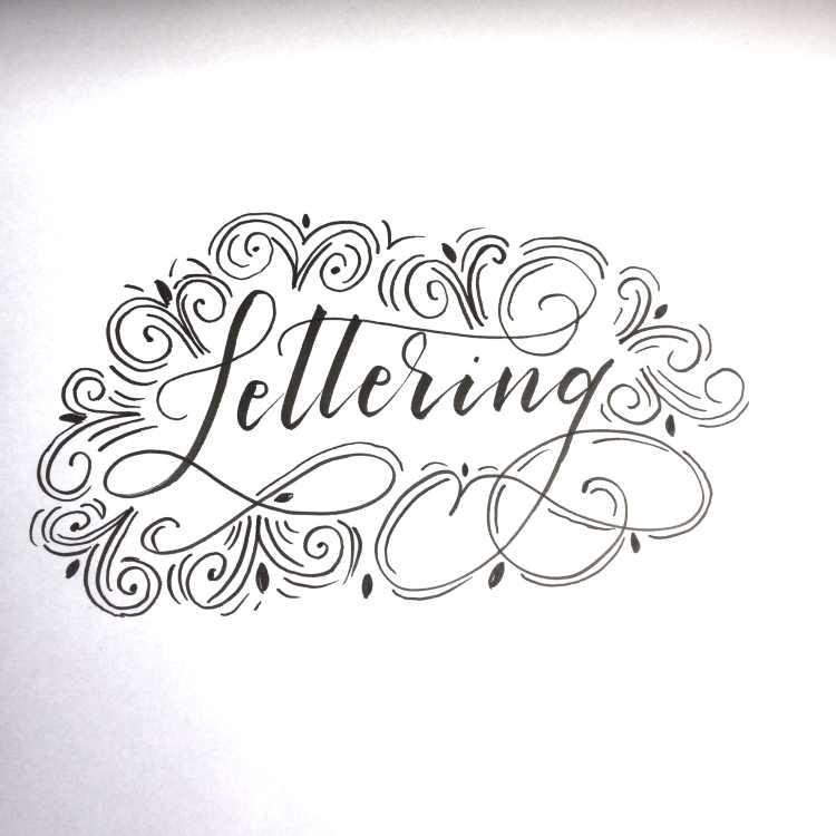 Lettering Wort mit Schnörkel Verzierungen