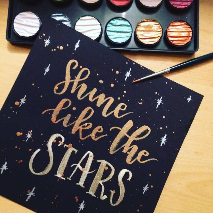 goldenes Handlettering - shine like the stars