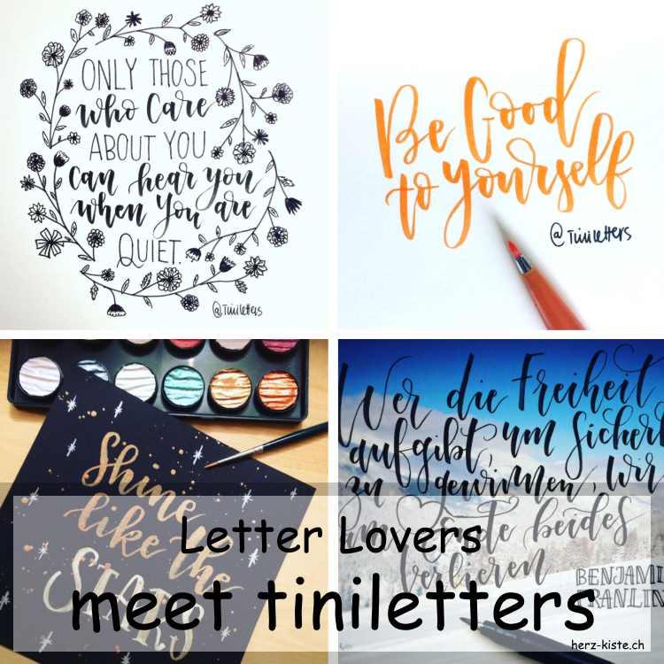Collage verschiedener Letterings von tiniletters