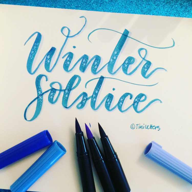 Winter solstice - Brushlettering mit Wintermood