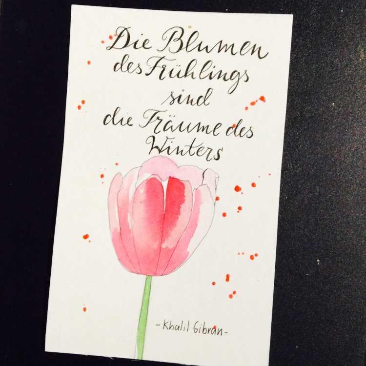 Handlettering mit einer Aquarell Blume