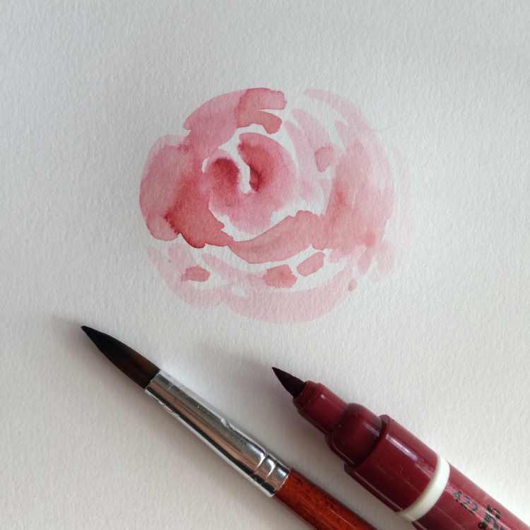 Selbstgemalte Rosen mit einem Brushpen