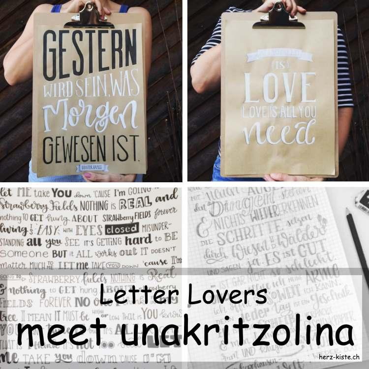 Zusammenstellung mehrer Letterings von unakritzolina als Titelbild für ein Interview