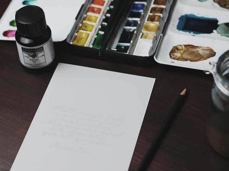 Spruch mit Bleistift vorzeichnen