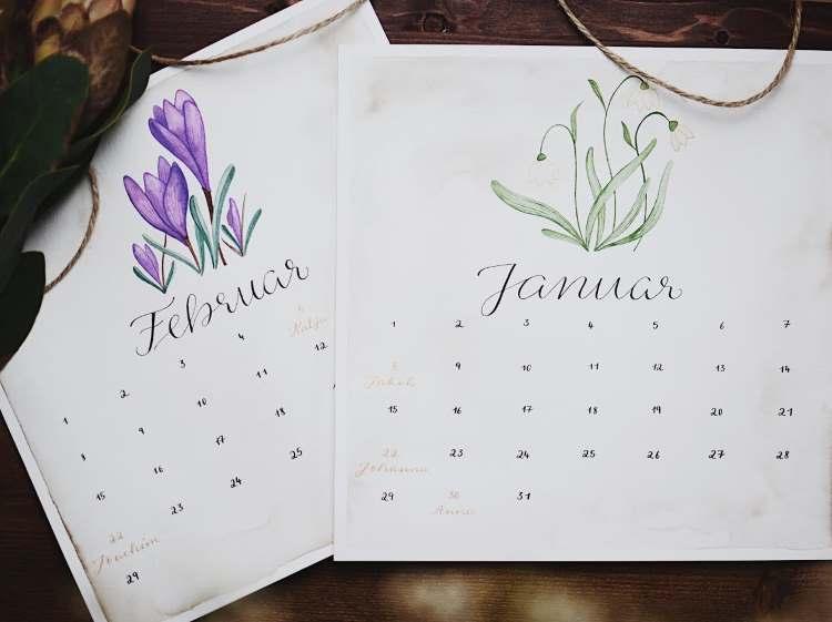 Januar - Februar - DIY Kalenderblatt mit Blümchen