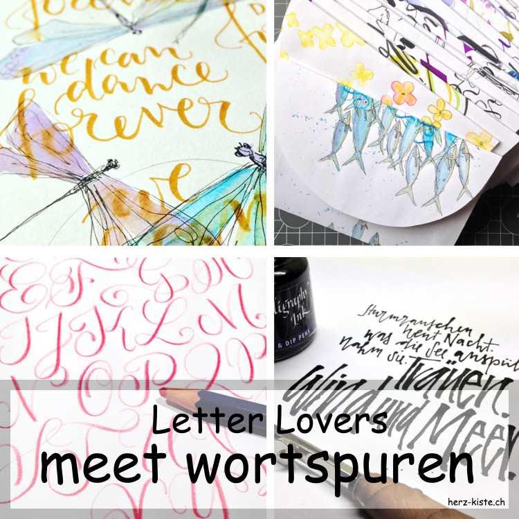 Collage mehrerer Letterings von wortspuren