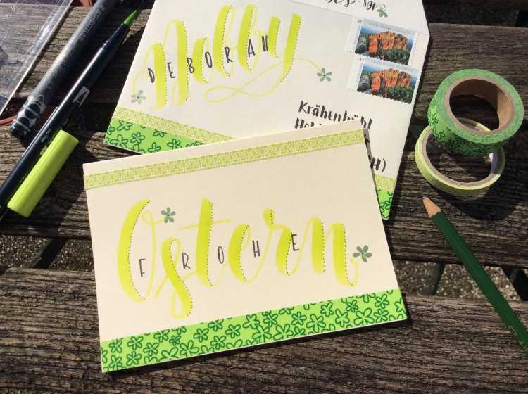 Karte und Umschlag passend zueinander gestalten mit Handlettering
