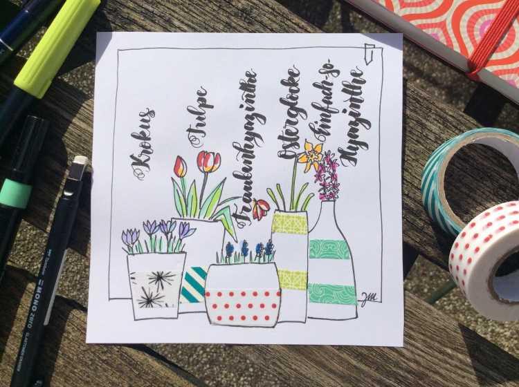 Handlettering mit verschiedenen Blumen