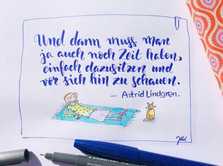 blaues Handlettering - Zitat von Astrid Lindgren