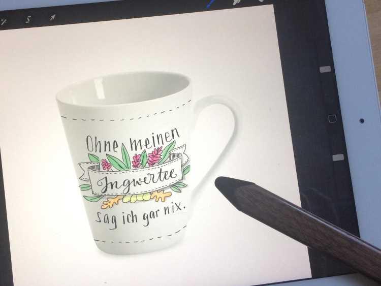 Handlettering auf einer Tasse