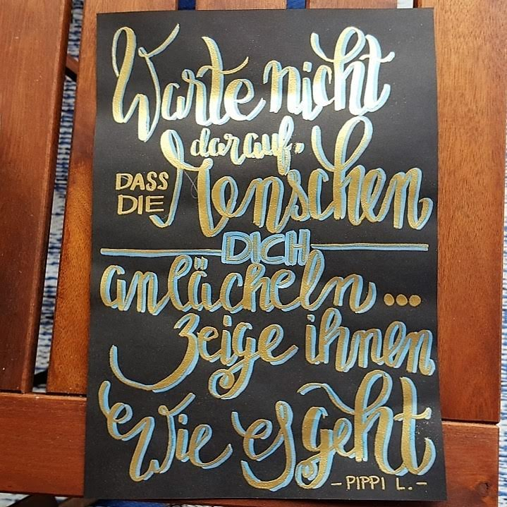 Handlettering Spruch mit Embossing