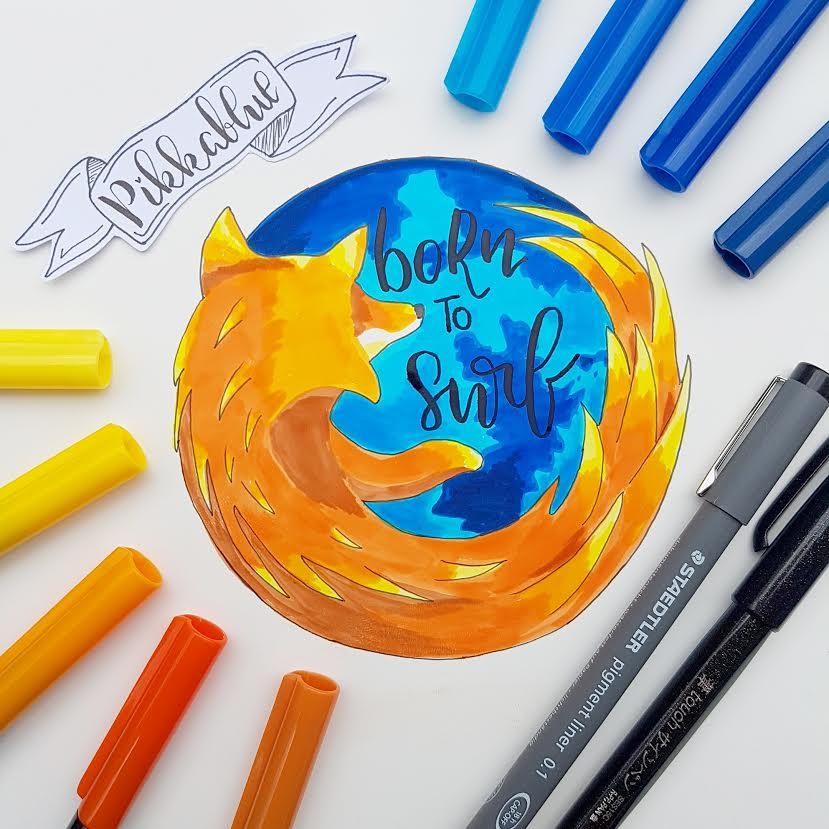 Handlettering mit dem Firefox Logo gezeichnet - born to surf