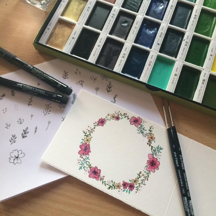 Anleitung für einfache Blumenkränze mit Aquarellfarben malen