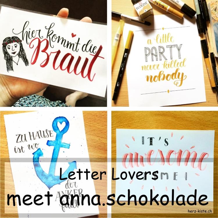 Collage verschiedener Letterings von anna.schokolade
