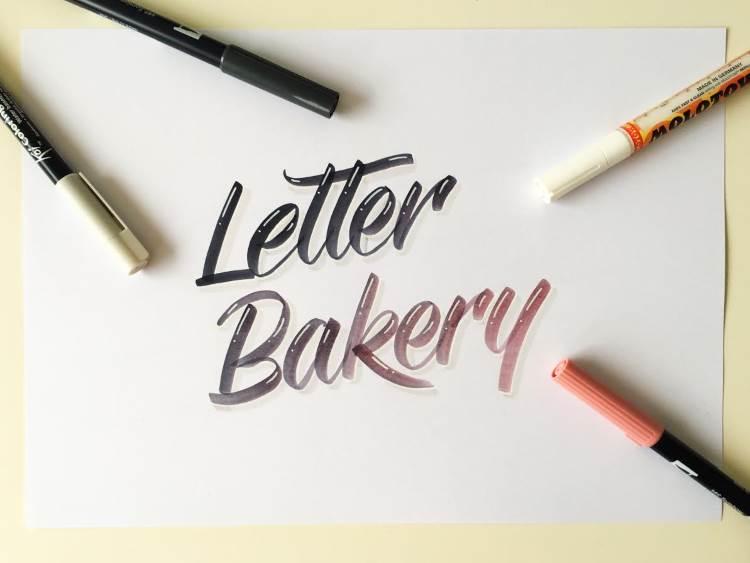 Letter Bakery - Handlettering mit Farbverlauf von schwarz zu lachsfarben