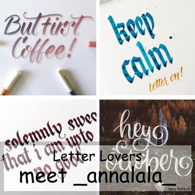Collage verschiedener Letterings von _annalala_ als Titelbild für den Letter Lovers Beitrag