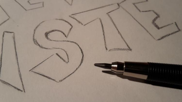 Skizze von einem Lettering