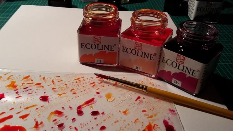 Ecoline Wasserfarben Fläschchen für den Hintergrund
