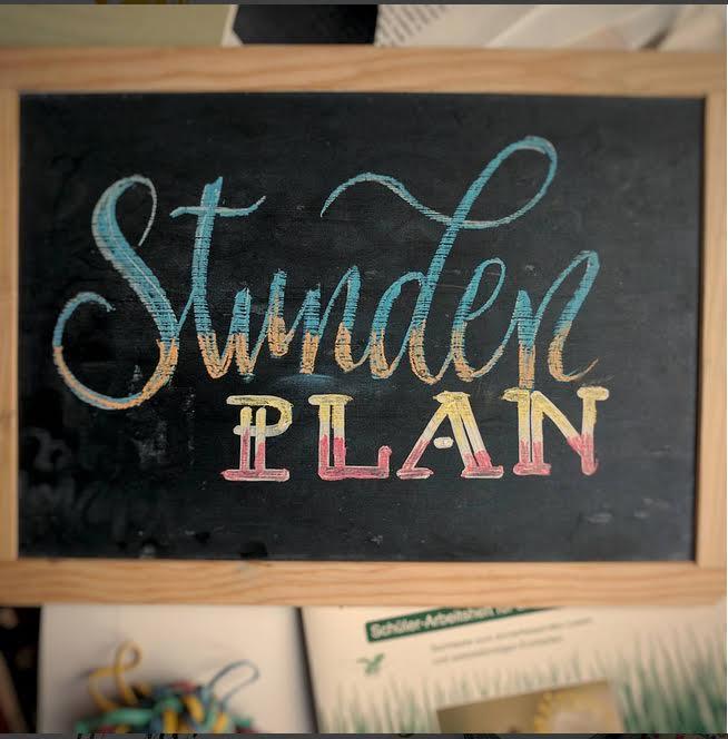 Stunden Plan - Chalk Lettering auf einer Tafel