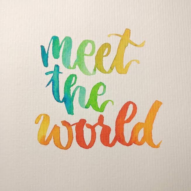 buntes Handlettering mit Farbverlauf - meet the world