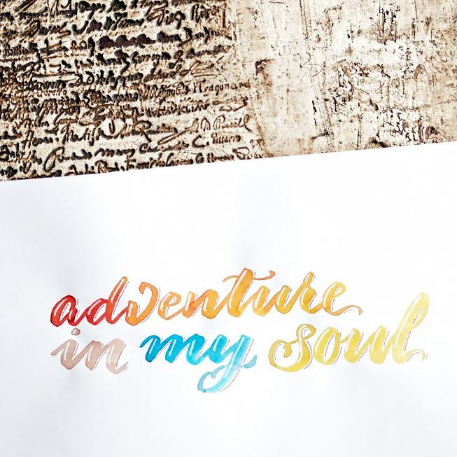 buntes Handlettering: adventure in my soul