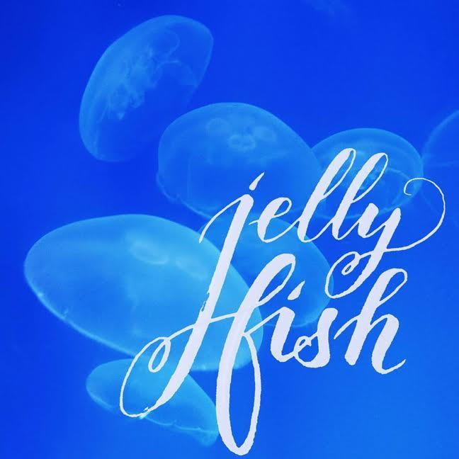 Handlettering auf einem Bild mit Quallen - jelly fish