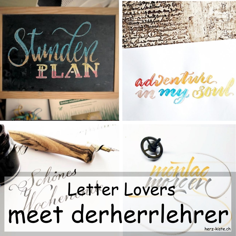 Collage mehrerer Letterings von derherrlehrer als Titelbild für den Blogbeitrag