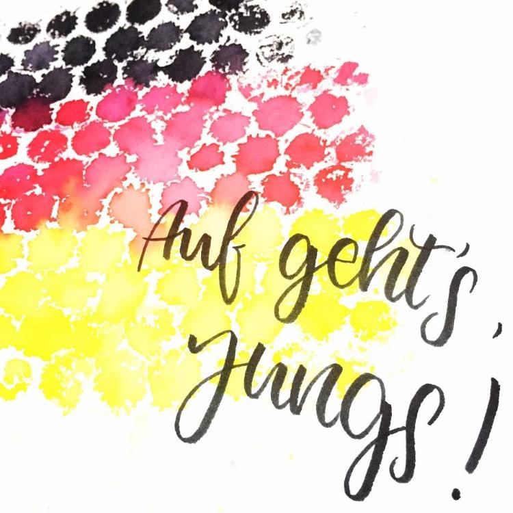 Handlettering mit Deutschland Farben - auf geht's Jungs
