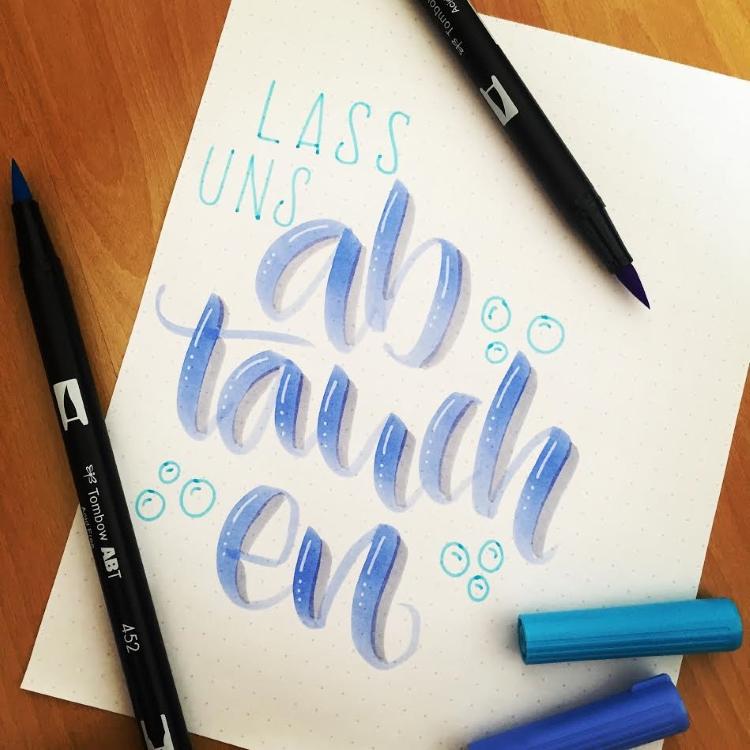 Handlettering Spruch: lass uns abtauchen
