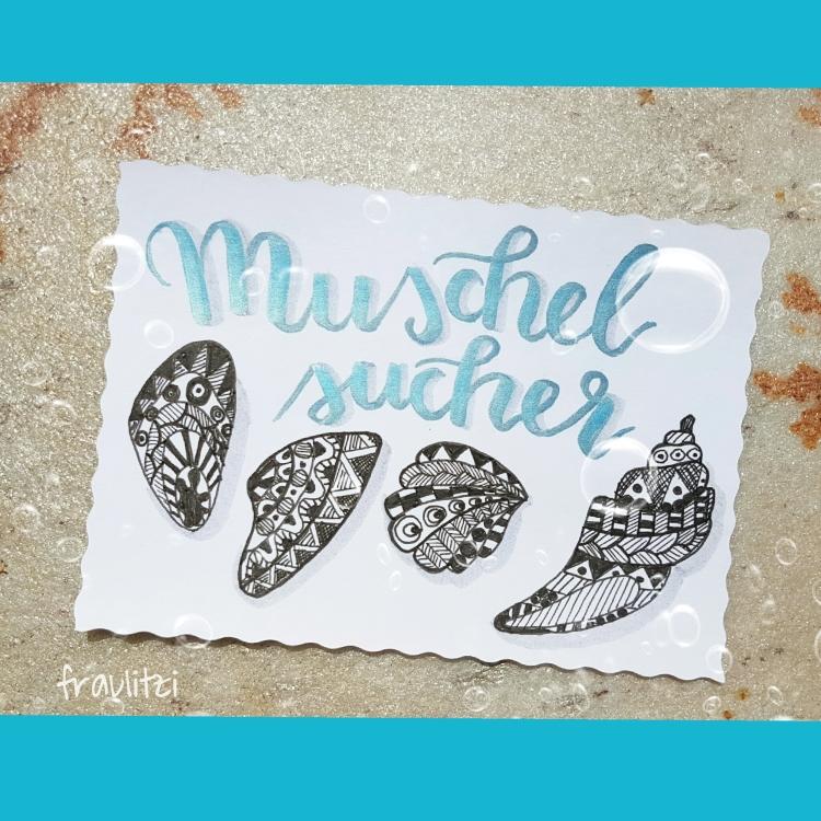 Muschel sucher - Handlettering mit Muscheln im Doodle Style
