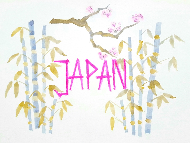 Japan - Handlettering mit Aquarell Bild