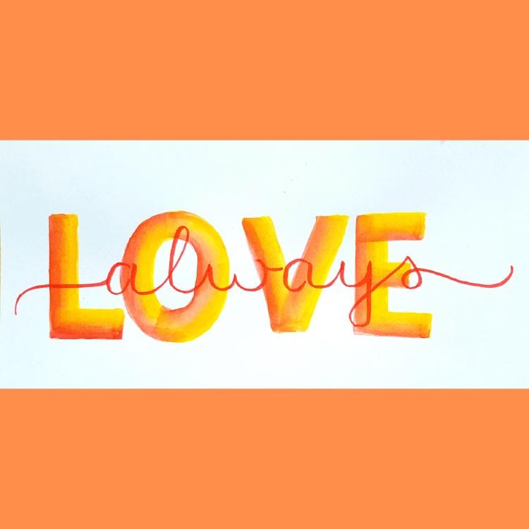 Love always - Lettering mit einem Kosmetikschwamm inklusive Anleitung