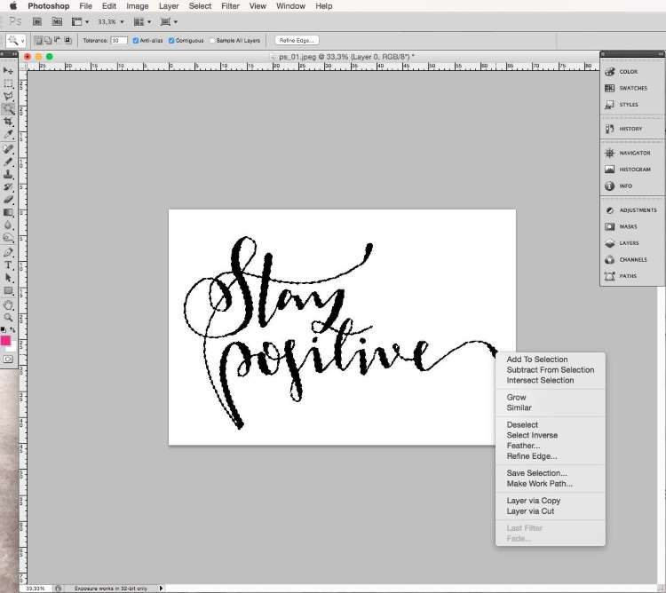 Lettering im Programm Photoshop digitalisieren