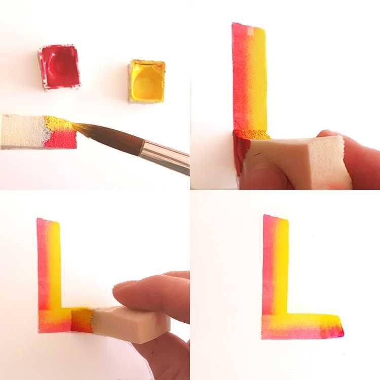 Schritt für Schritt Bilder: Lettering mit einem Kosmetikschwamm