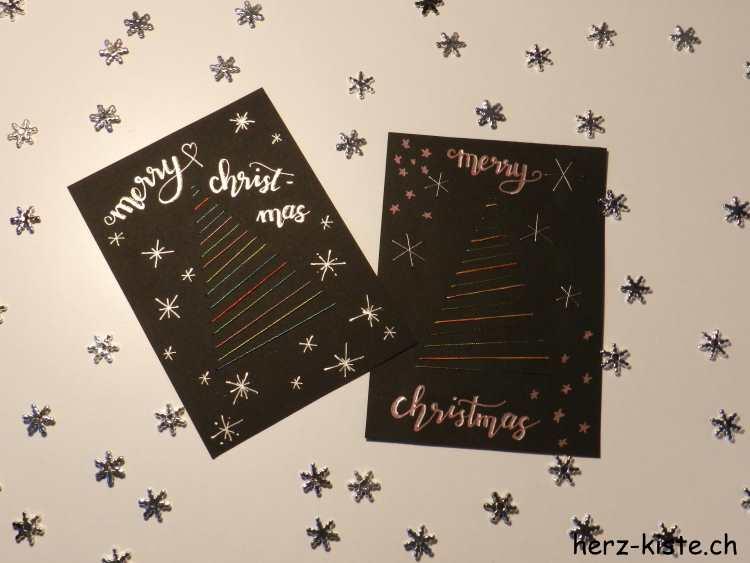 merry christmas - Weihnachtskarte mit aufgesticktem Tannenbaum