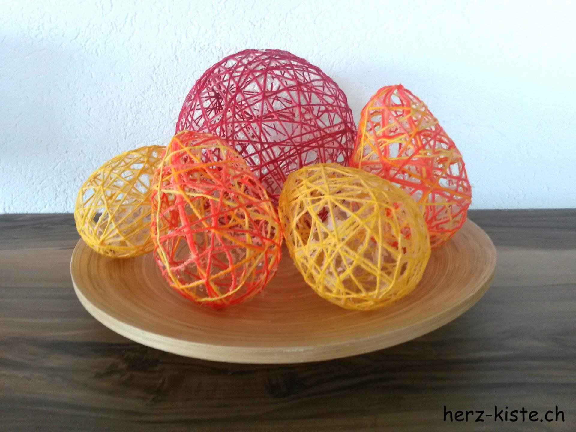 DIY Ostereier aus Garn und Kleister