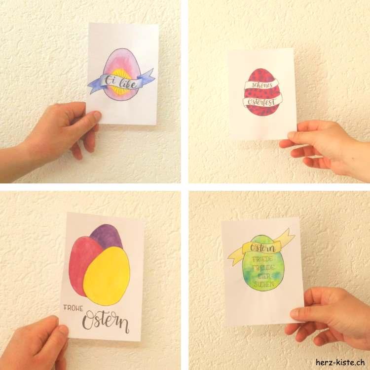 Osterkarten mit Handlettering als gratis Download