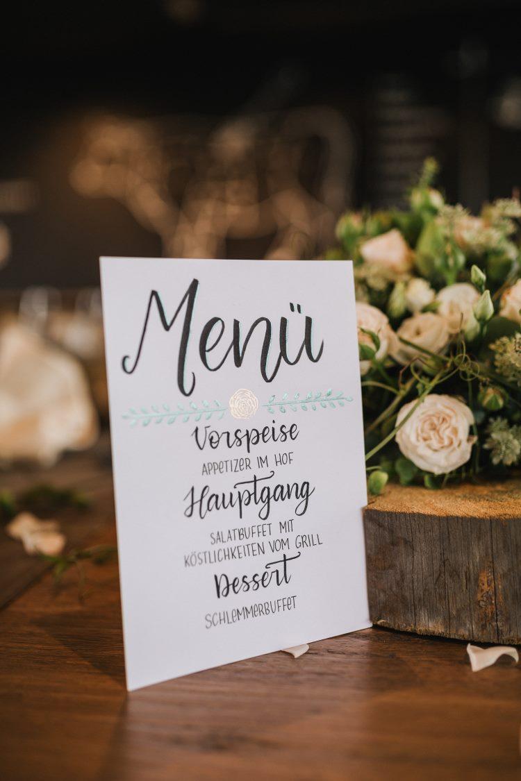 Menükarte im Lettering Stil - Hochzeits Foto