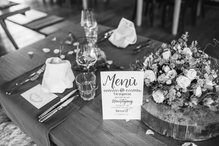 Menü - Hochzeits Foto vom Tisch