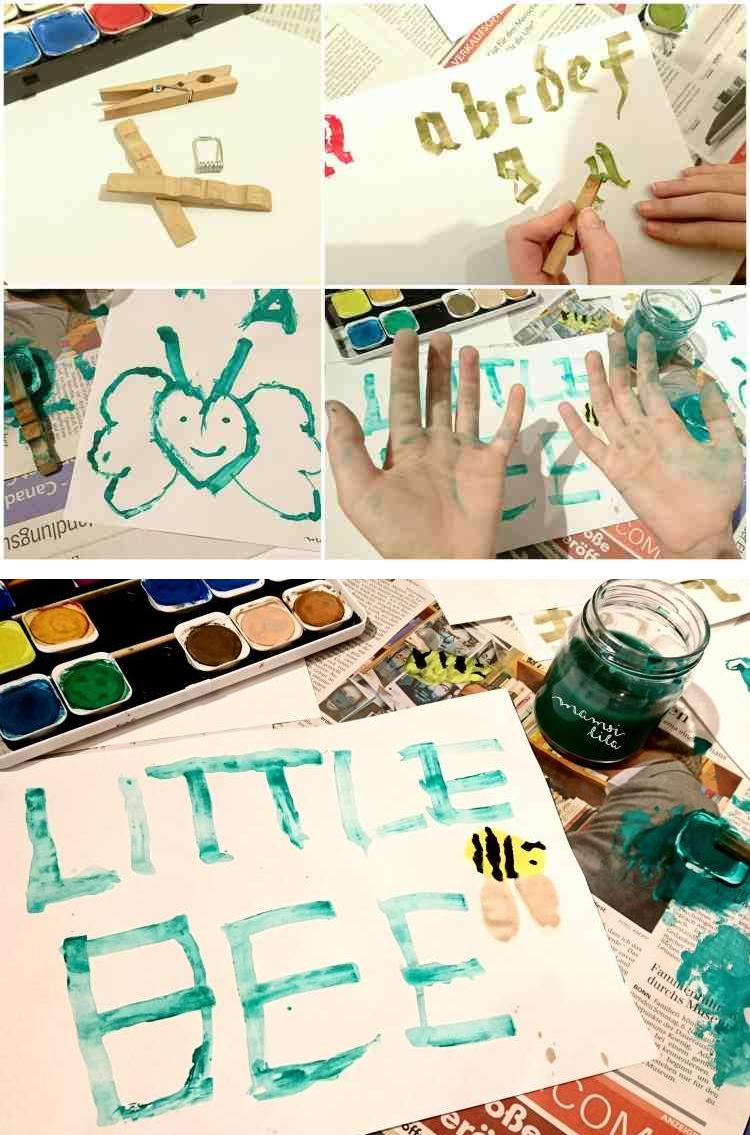 Wäscheklammer Kalligrafie - einfache Anleitung in Bildern