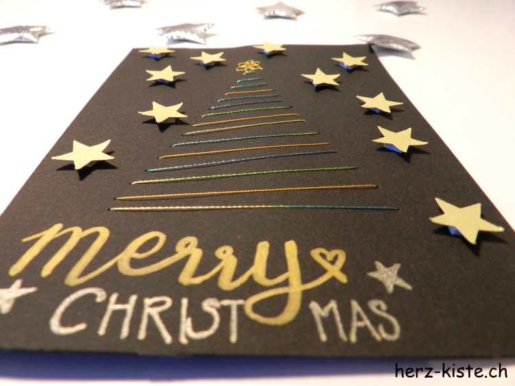 merry christmas Weihnachtskarte gestickt