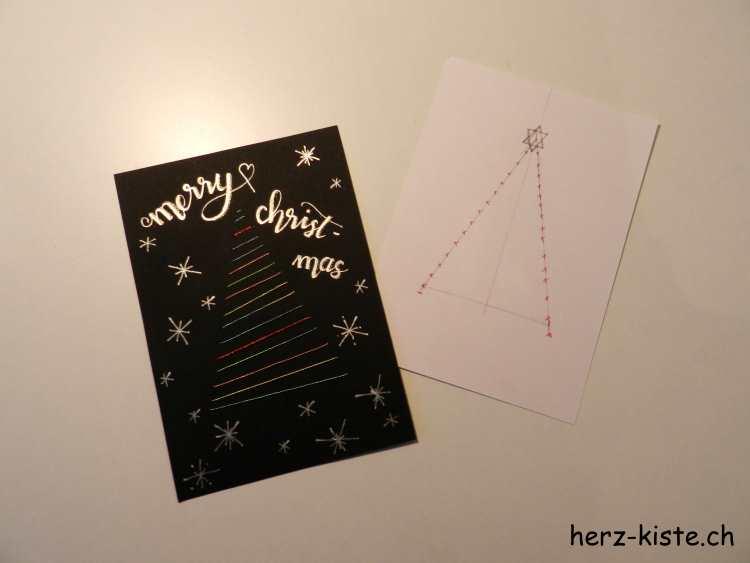 gestickte Weihnachtskarte mit Anleitung