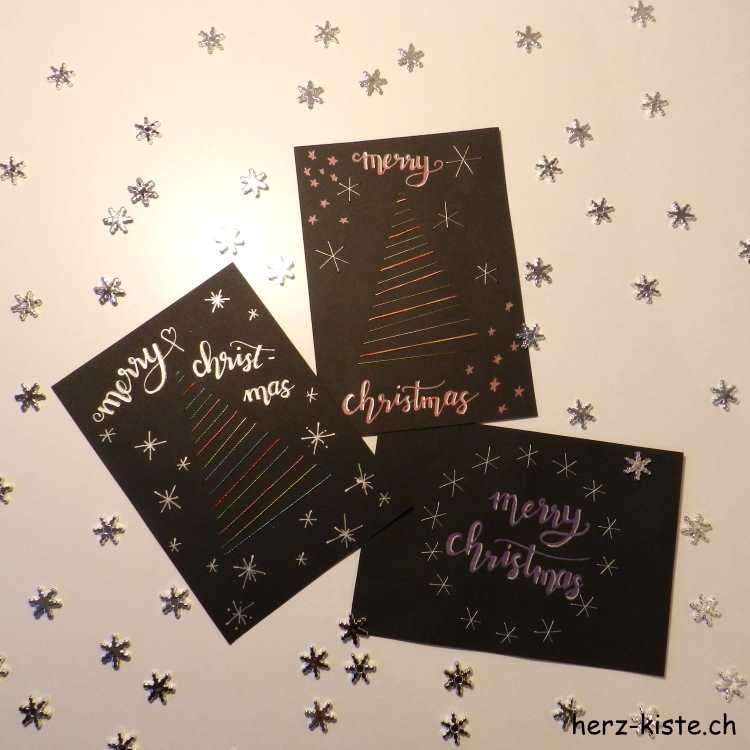 gestickte Weihnachtskarte mit Tannenbaum