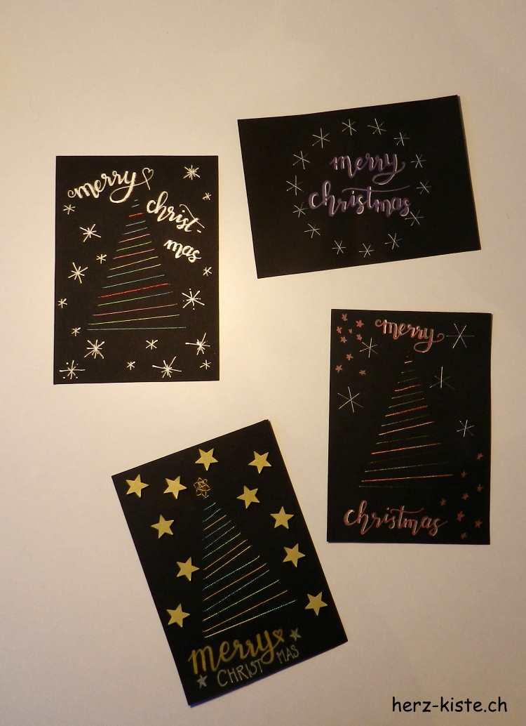 Weihnachtskarten mit aufgesticktem Tannenbaum